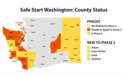 华盛顿州重新开放计划 – 14个 County 已经获准进入第二阶段!